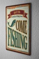 Tin Sign Angler Home Fish fishing season Sport Fishing...