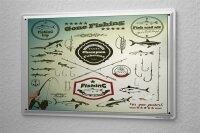 Tin Sign Coastal Marine Gone fishing