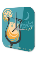 Wall Clock Bar Party Vintage Decoration Cocktail list...