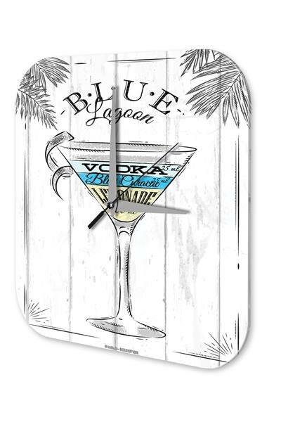 Wall Clock Bar Party Vintage Decoration Blue Lagoon Plexiglass