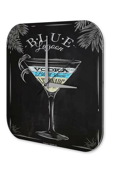 Wall Clock Bar Party Vintage Decoration Blue Lagoon recipe Plexiglass