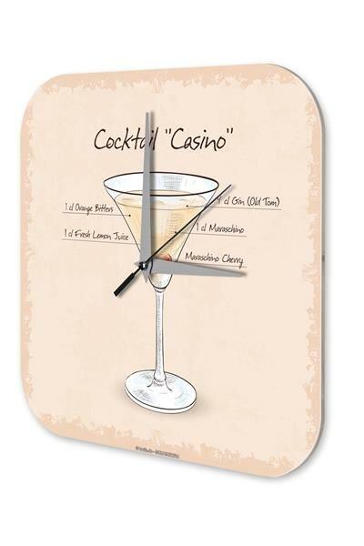 Wanduhr Nostalgie Alkohol Retro Deko Cocktail Casino Dekouhr