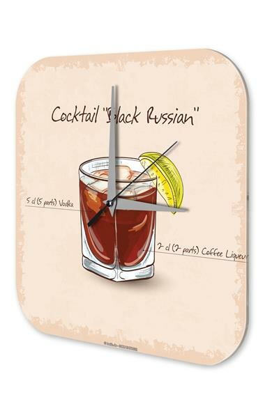 Wall Clock Bar Party Vintage Decoration Cocktail black russian Plexiglass