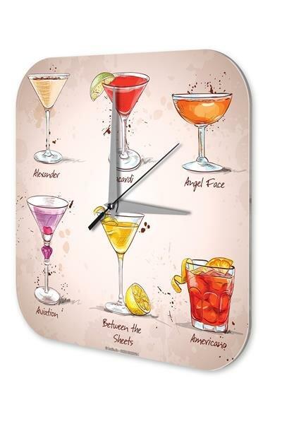 Nostalgic Wall Clock Alcohol Retro Deco Cocktail selection Plexiglass