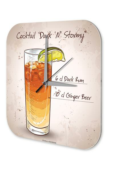 Wall Clock Bar Party Vintage Decoration Cocktail dark n stormy Plexiglass