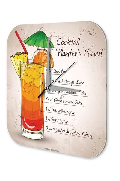 Wall Clock Vintage Cocktail planters punch Kitchen Dekoracion Plexiglass