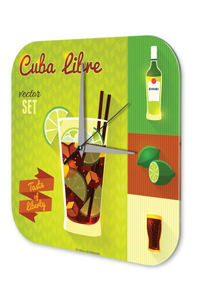 Wall Clock Bar Party Vintage Decoration Cuba Libre Acrylglas