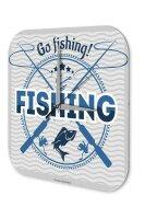 Wall Clock Coastal Marine Decoration Go fishing Acrylglass