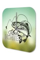 Wall Clock Coastal Marine Decoration Trout Hunter Acrylglass