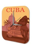 Wall Clock Holiday Travel Agency Cuba Acrylglass