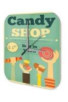 Wall Clock Kitchen Decor candy shop Printed Acryl Plexiglass
