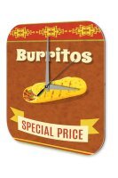 Wall Clock Kitchen Decor Burritos snack Printed Acryl...