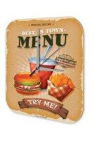 Wall Clock Kitchen Decor Burger menu Printed Acryl...