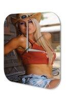 Sexy Girl Wall Clock Model cowboy hat Printed Acryl...