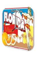 Wall Clock Deco City Florida greetings Palms girl Printed...