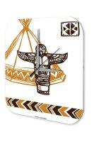 Wall Clock USA Native Totem Printed Acryl Plexiglass