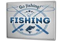 Tin Sign XXL Coastal Marine Go fishing