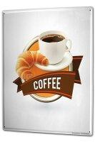 Tin Sign XXL Coffee Cafe Bar Coffee Croissant