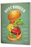 Tin Sign XXL Kitchen Best Hamburger
