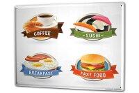 Tin Sign XXL Kitchen Sushi coffee fast food