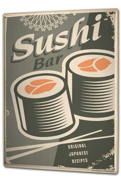 Blechschild XXL Retro Sushi Bar
