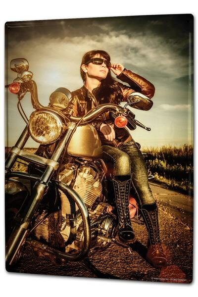 Blechschild XXL Nostalgie Motorrad Biker Girl