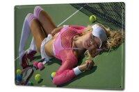 Blechschild XXL Pin Up Erotik Tennis