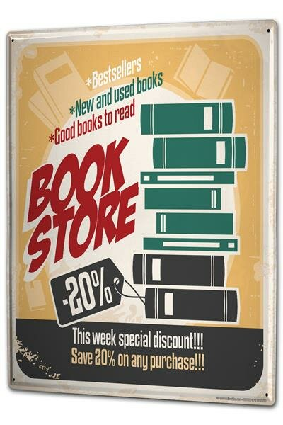 Tin Sign XXL Fun Ravtive Book store