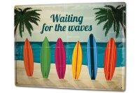 Blechschild XXL Fun Warten auf Wellen