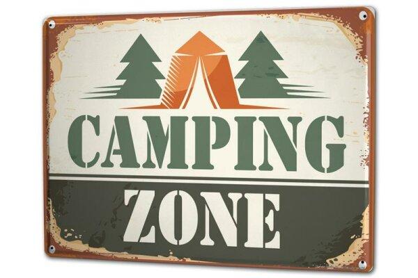 Blechschild XXL Retro Camping