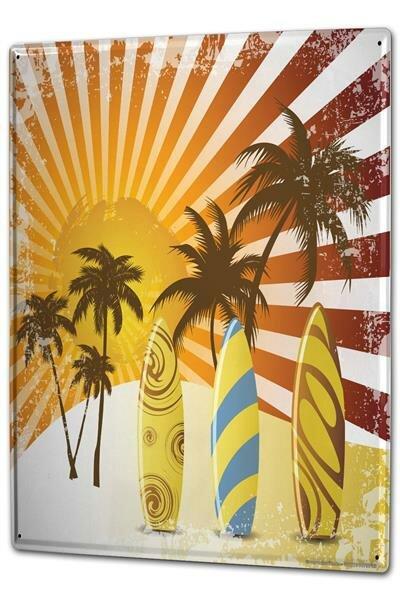 Blechschild XXL Retro Surfbrett Palmen Strand