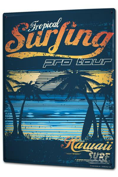 Tin Sign XXL Nostalgic Surfing