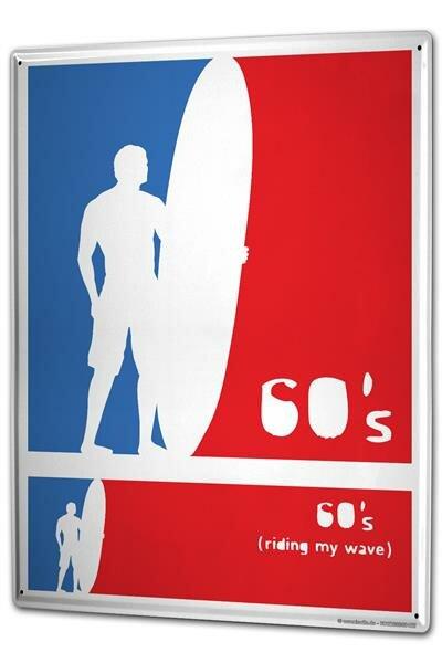 Blechschild XXL Fun 60`s Surfer