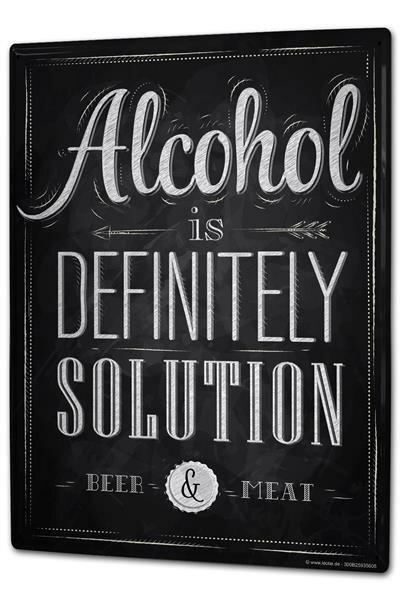 Tin Sign XXL Fun Alcohol solution