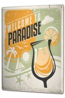 Tin Sign XXL Fun Welcome Paradise