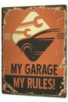 Tin Sign XXL Fun my garage my rules