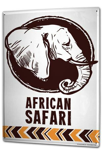 Blechschild XXL Afrika Elefant Safari in Afrika