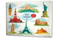Blechschild XXL Urlaub Reisebüro Wahrzeichen der Welt