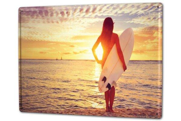 Blechschild XXL Weltenbummler Sonnenaufgang Surf