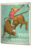 Tin Sign XXL USA Native Real Cowgirl