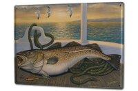 Tin Sign XXL Angler Home cod Sport Fishing Deep Sea