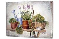 Tin Sign XXL Kitchen F. Heigl Still life garden plants