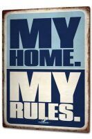 Tin Sign XXL Fun Pit Hammann My Home my rules