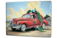Tin Sign XXL Holiday Travel Agency G. Huber vintage peacock