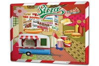 Tin Sign XXL Holiday Travel Agency Fast Food Pizza Hot Dog