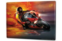 Tin Sign XXL Garage racing flames