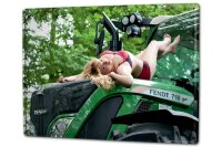 Tin Sign XXL Pin Up Adult Art blonde tractor
