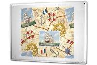 Tin Sign XXL Maritime World Map Sailboat