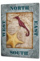 Tin Sign XXL Fun Ravtive Compass seahorse starfish