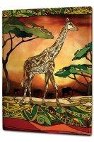Tin Sign XXL Giraffe Zoo Fantasy Flower Painting